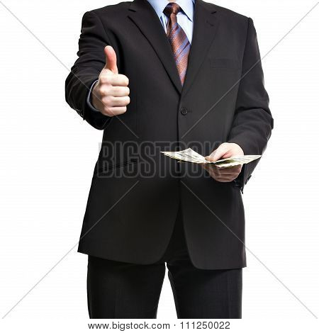 Some Unrecognizable Businessman In Suit Showing  A Spread Of Cash And Thumb Up