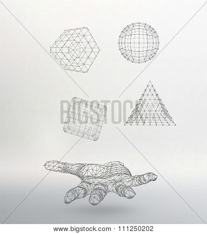 triangle pyramid, Ball, Cube on the arm. Polygon triangle. Polygonal hand. Mesh polygonal background