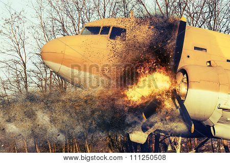 Old Airplane On Fire