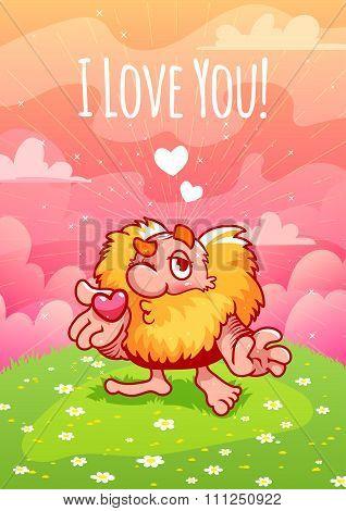 Cute Valentine Red Dwarf Blows A Kiss.