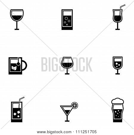 drinking glasses icons set