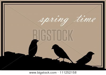 spring background with sparrows
