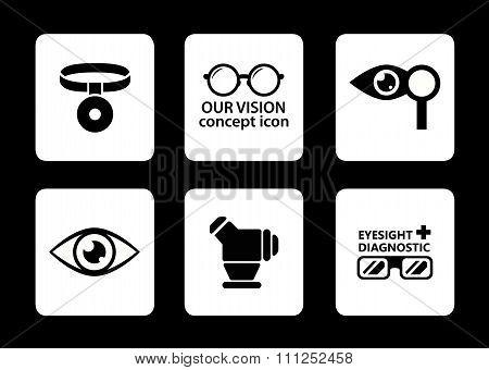 optician icons set