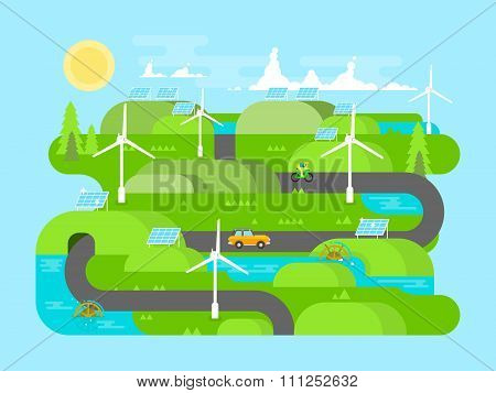 Green energy flat design