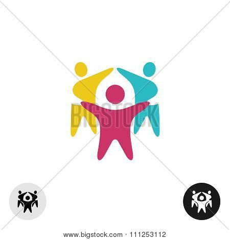 Three Happy Motivated People In A Round Colorful Logo