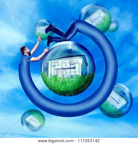 Long man running round his house in the water bulb