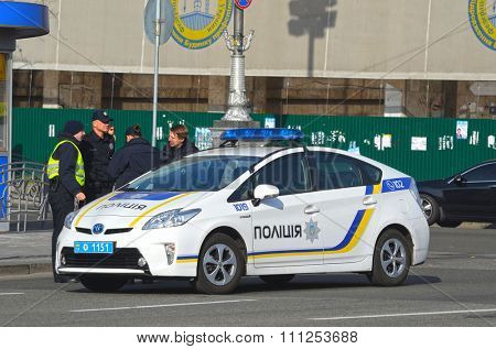 KIEV , UKRAINE - NOV 1, 2015. New Ukrainian Pro-American Police on Maidan Nezalezhnosti square secure downtown durig Gay-Maidan. November 1, 2015 in Kiev, Ukraine