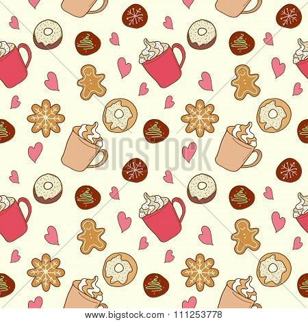 Pattern of coffee and sweets