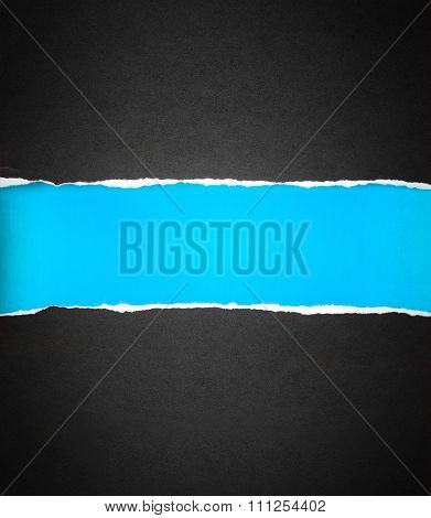 Torn Black Paper And Space With Sky Blue Paper Background , Black Friday Shoping Concept