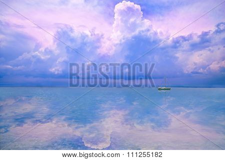 colorful sky reflected on sea