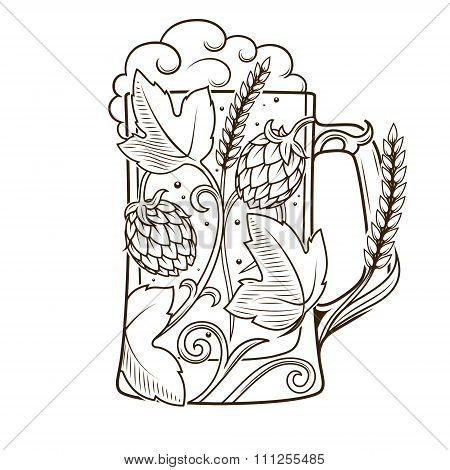 Beer mug abstract ornament vector