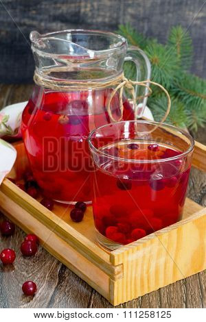 Red Cranberry Fruit Drink, A Pitcher And A Glass.