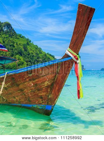Long Tailed Boat In Phiphi Island, Thailand