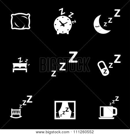Vector White Sleep Icon Set