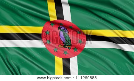 3D Dominica flag with fabric surface texture