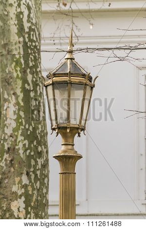 Old Style City Light In Square Of Recoleta Buenos Aires