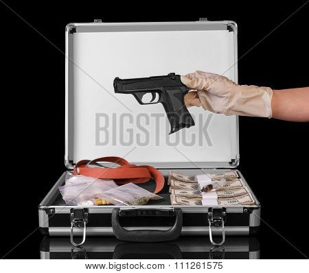 Case with money and drugs