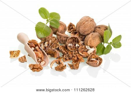 Nuts in wooden spoon
