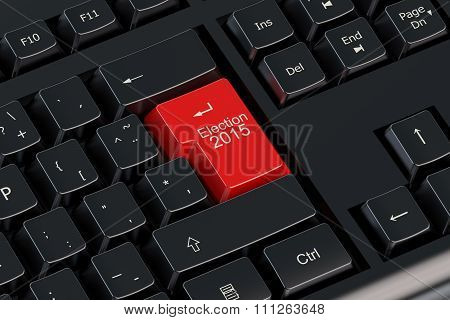 Election 2015 Concept On The Keyboard