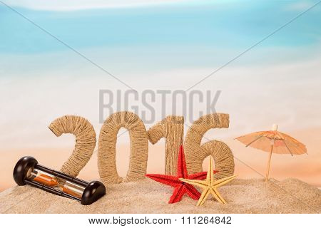 New year sign with starfishes and hourglass