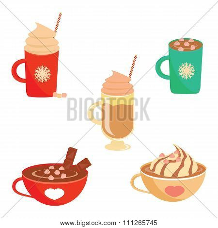 Winter hot drink set flat design