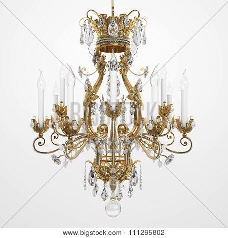 Luxury Glass Chandelier. 3d rendering.