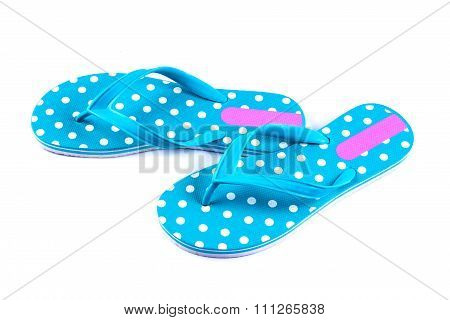 Summer Fashion Blue Flip Flop Sandals Isolated On White Background