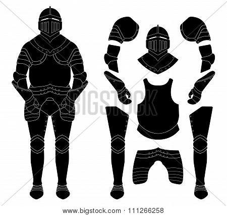 Medieval knight armor set. Black