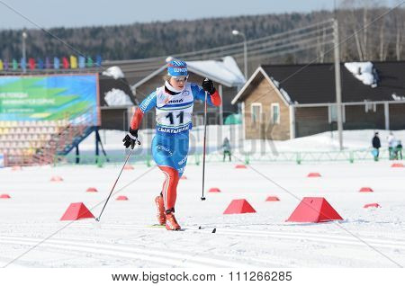 SYKTYVKAR, RUSSIA - MARCH 30, 2013: skier competes during the Russian cross-country ski championship-2013. It had been run by Cross-country ski Federation of Russia in Syktyvkar.