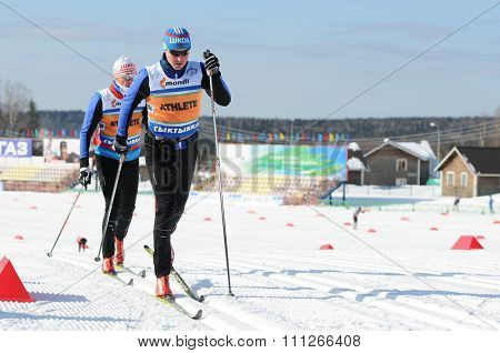 SYKTYVKAR, RUSSIA - MARCH 30, 2013: people competes during the Russian cross-country ski championship-2013. It had been run by Cross-country ski Federation of Russia in Syktyvkar.