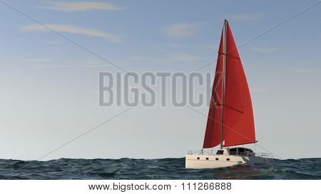 cruse catamaran with red sales in the sea