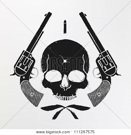Wild west skull and pistols emblem