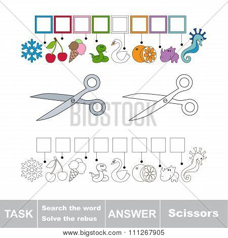 Vector game. Search the word. Find hidden word Scissors