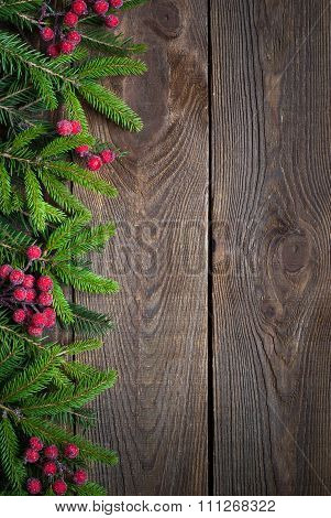 Christmas background with fir tree brunches