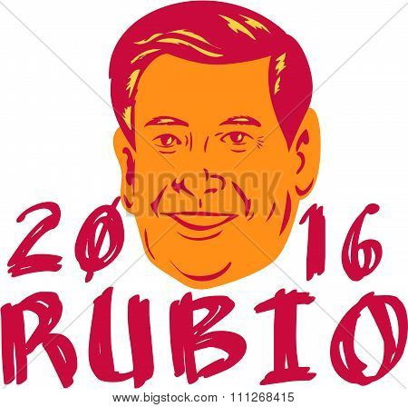 Jan. 11, 2016: Illustration showing Marco Rubio an American senator politician and Republican 2016 presidential candidate crest with words Rubio 2016 done in retro sketch drawing style.