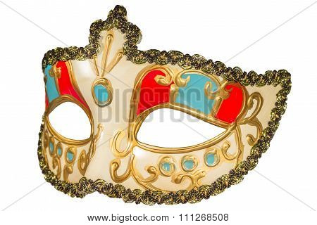 Carnival Mask Gold-painted Curlicues Decoration Blue And Red Inserts Half Mask