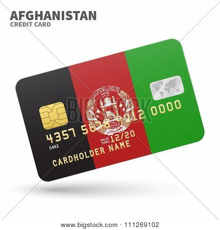 Credit card with Afghanistan flag background for bank, presentations and business. Isolated on white