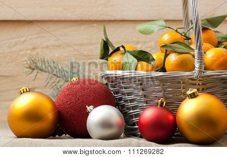Christmas Decoration With Tangerines