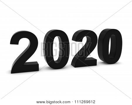 Black 2020 3D Numbers - Year Twenty Twenty Isolated On White