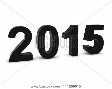 Black 2015 3D Numbers - Year Twenty Fifteen Isolated On White