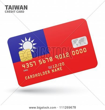 Credit card with Taiwan flag background for bank, presentations and business. Isolated on white