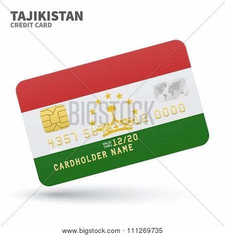 Credit card with Tajikistan flag background for bank, presentations and business. Isolated on white
