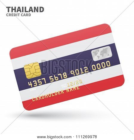 Credit card with Thailand flag background for bank, presentations and business. Isolated on white