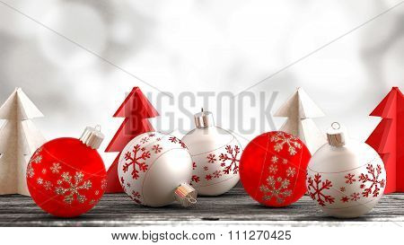 Christmas ornaments on a wooden table with a bokeh background.