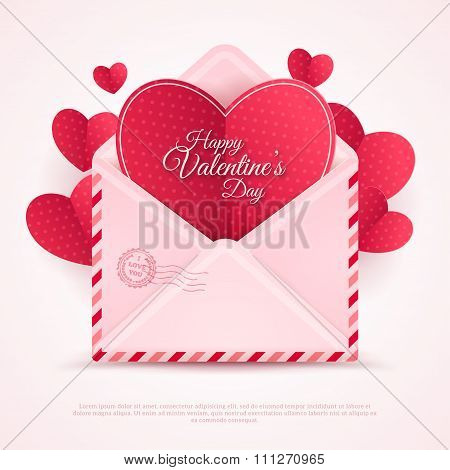 Happy Valentine's Day Envelope with Paper Hearts