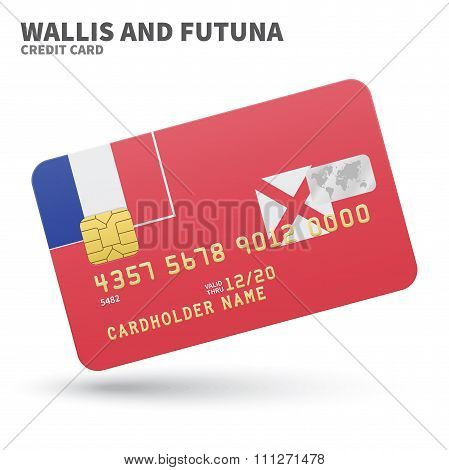 Credit card with Wallis and Futuna flag background for bank, presentations, business. Isolated on wh