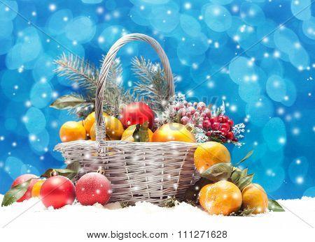 Christmas Balls And Tangerines