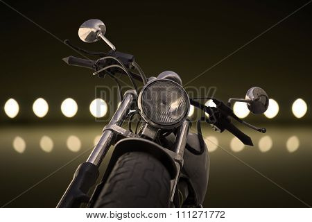 White Chrome Motorcycle And Lights Background Filtered