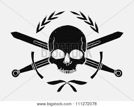 Skull and crossed sword medieval black emblem