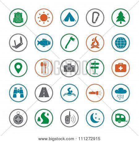 Camping icons set. Silhouette